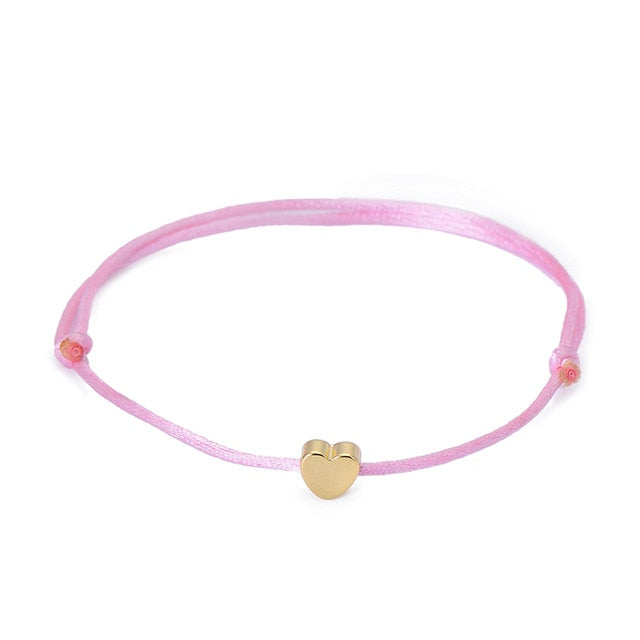 Gold Or Silver Color Heart Multicolor Rope Adjustable String Bracelet