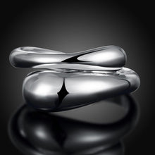 Teardrop Ring Adjustable in White Gold Plated