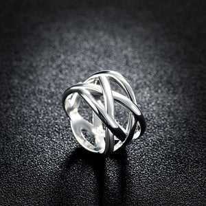 18K White Gold Plated Criss Cross X Ring
