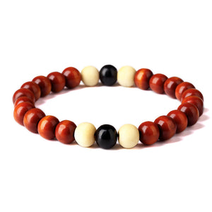 Natural Wooden Beaded Bracelet In Various Colors
