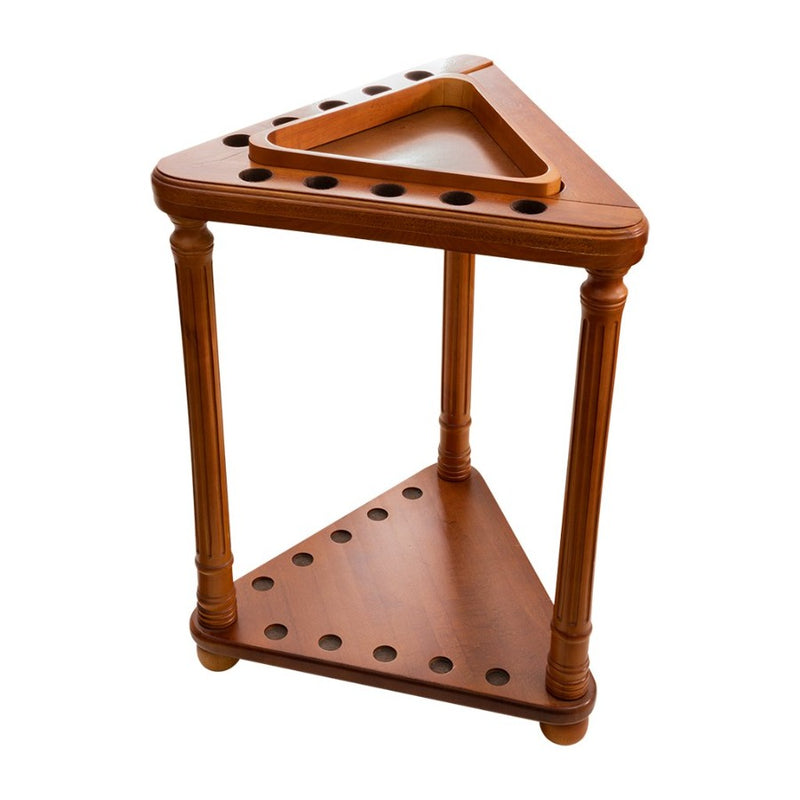 FLOOR CUE RACK WITH TRIANGLE - HONEY