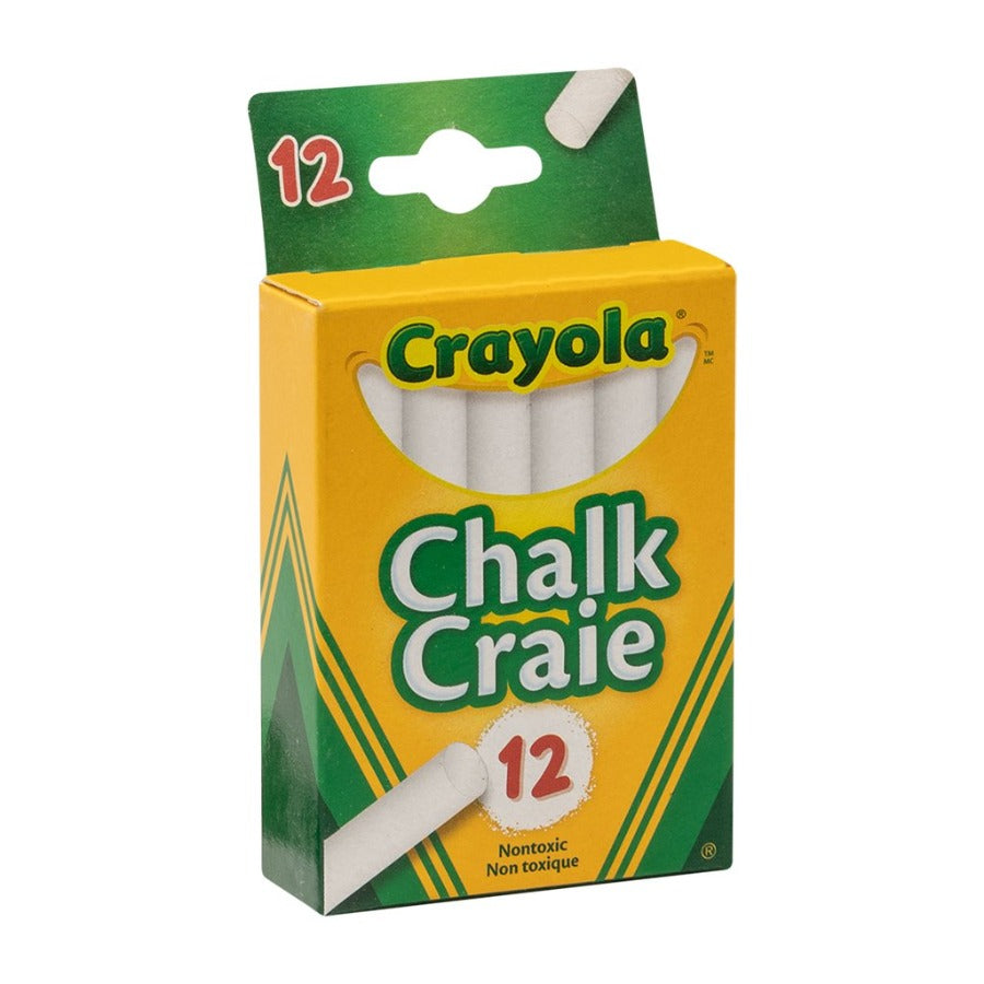 BOX OF 12 DUSTLESS WHITE CHALKS