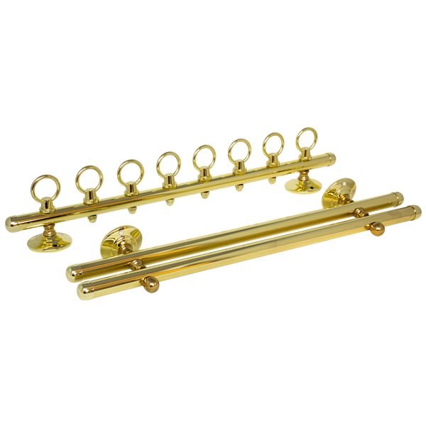 WALLMOUNT CUE RACK 2 PC - BRASS