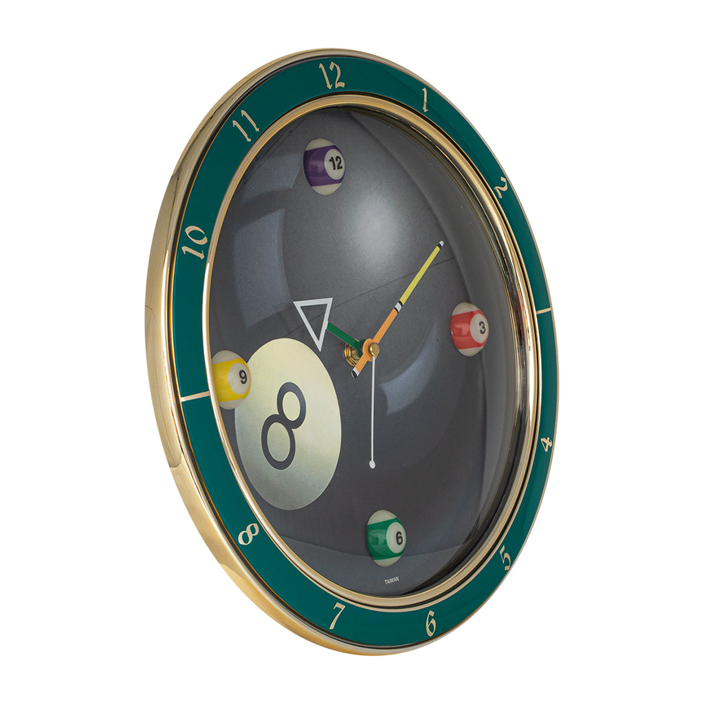 BILLIARD CLOCK #8 12'' DIAMETER
