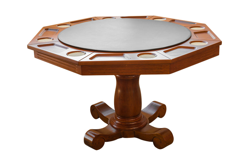 VICTORIA 2 IN 1 POKER/DINING TABLE FOR 8 PLAYERS - MAPLE/BRANDY