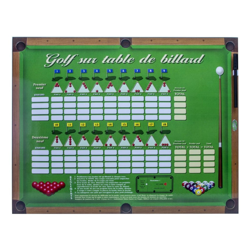 GOLF ON A POOL TABLE SCOREBOARD - FRENCH VERSION