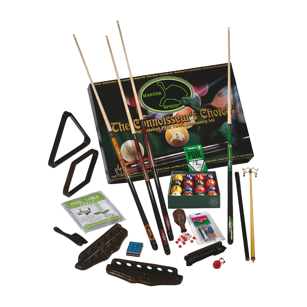 MASTER SPEED 4 CUES ACCESSORY KIT WITH ARAMITH BALLS - CHOCOLATE