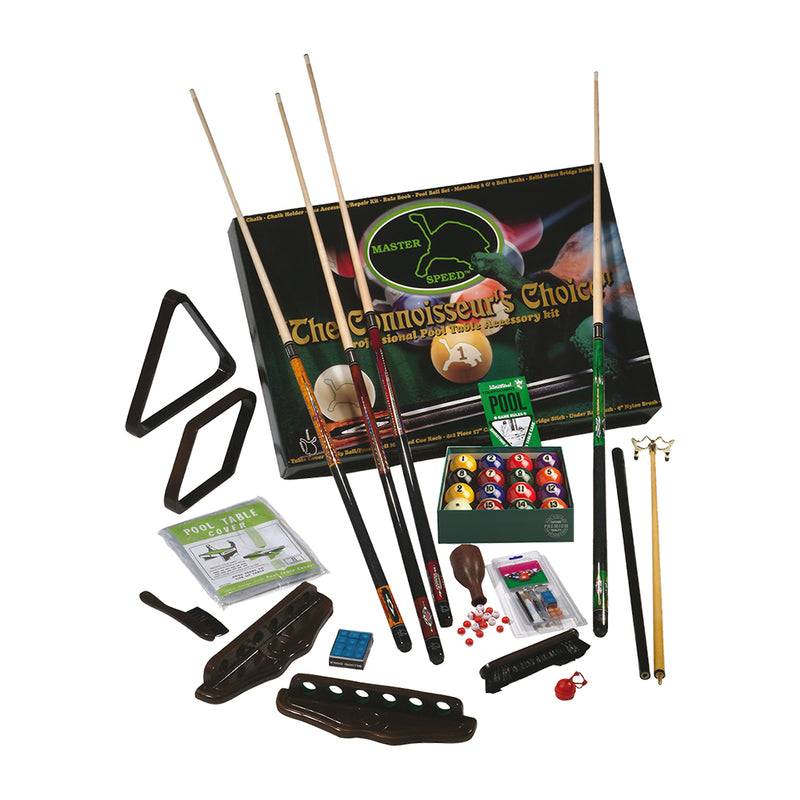 MASTER SPEED 4 CUES ACCESSORY KIT WITH ARAMITH PREMIUM BALLS - CHOCOLATE
