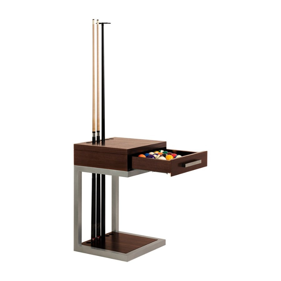LA CONDO ALUMINUM CUE RACK & BALL RACK - WALNUT