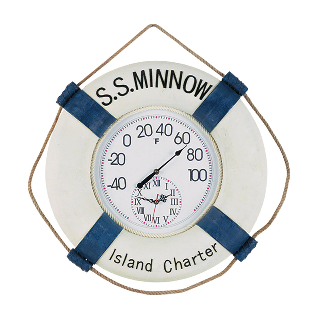 LARGE S.S. MINNOW THERMOMETER/CLOCK