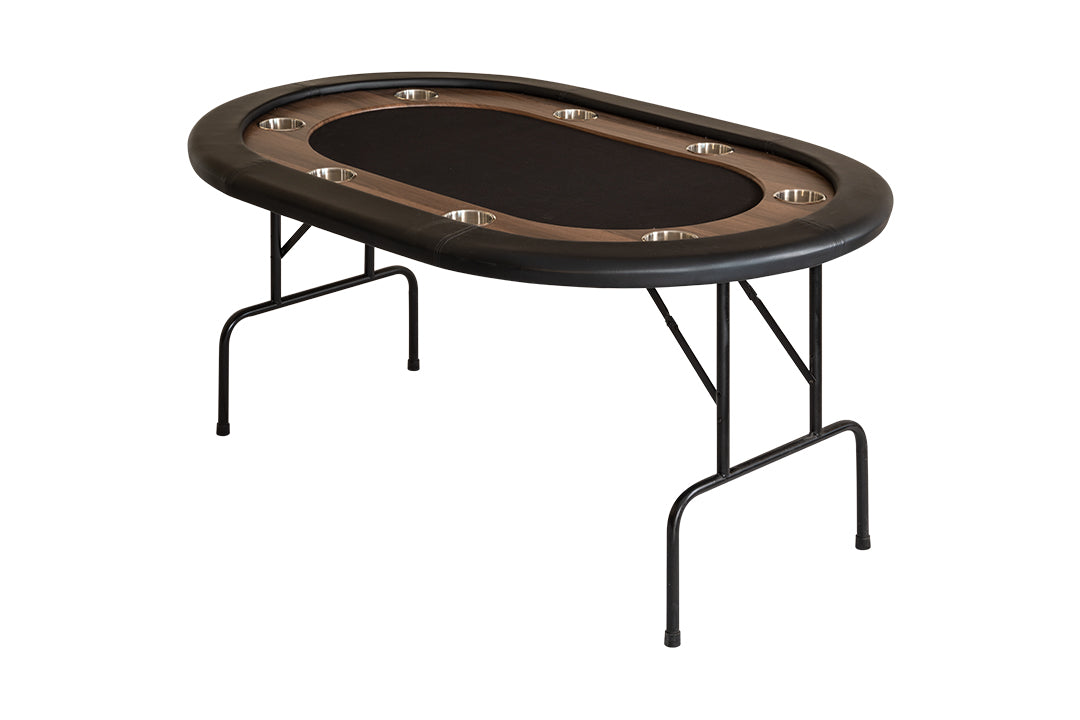SUPREME POKER TABLE WITH FOLDING LEGS FOR 8 PLAYERS - BLACK