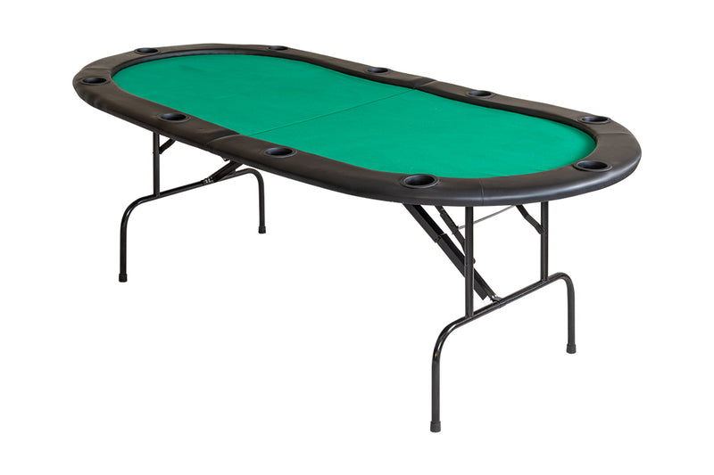 TEXAS HOLD'EM POKER TABLE WITH FOLDING LEGS FOR 10 PLAYERS - GREEN
