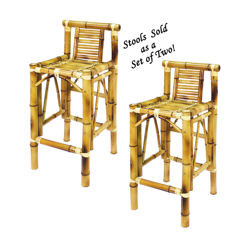 SET OF TWO BAMBOO TIKI BAR STOOLS