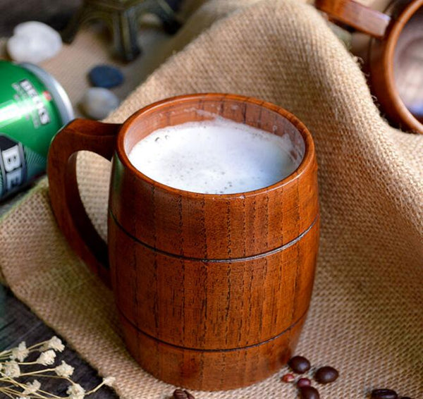 Wooden Beer Mug with Handle - Eco-friendly 350ml