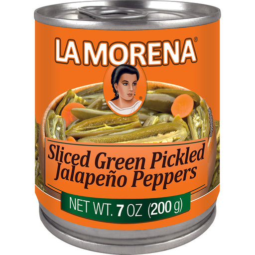Sliced Green Pickled Jalapeño Peppers by La Morena