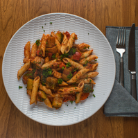 Roasted Vegetable with tomato and pasta.  (V)