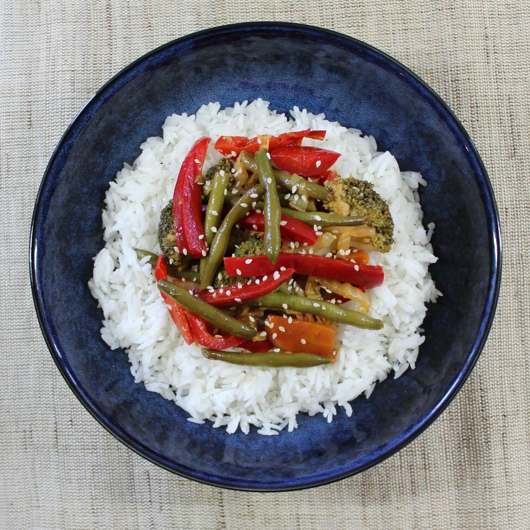 Honey Soy Veggies & Steamed Jasmine Rice