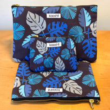 Load image into Gallery viewer, Blue Frond Zipper Pouch