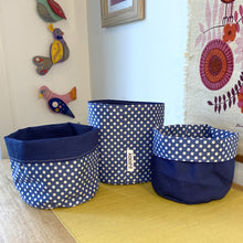 Load image into Gallery viewer, Denim Blue Polka Dot Planter/Storage Basket