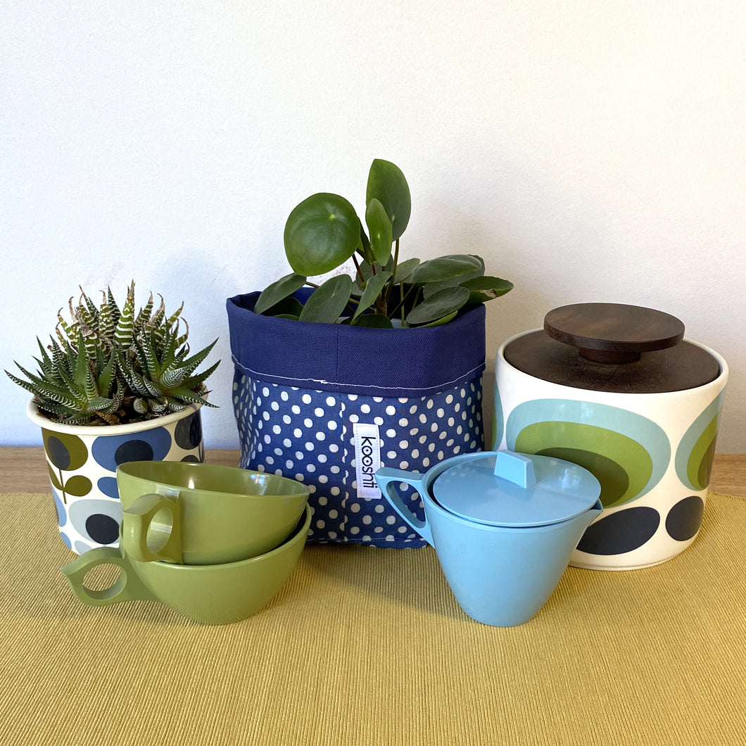 Denim Blue Polka Dot Planter/Storage Basket