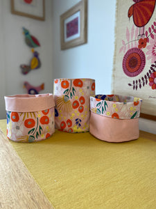 Floret in Blush Fabric Planter/Storage Basket