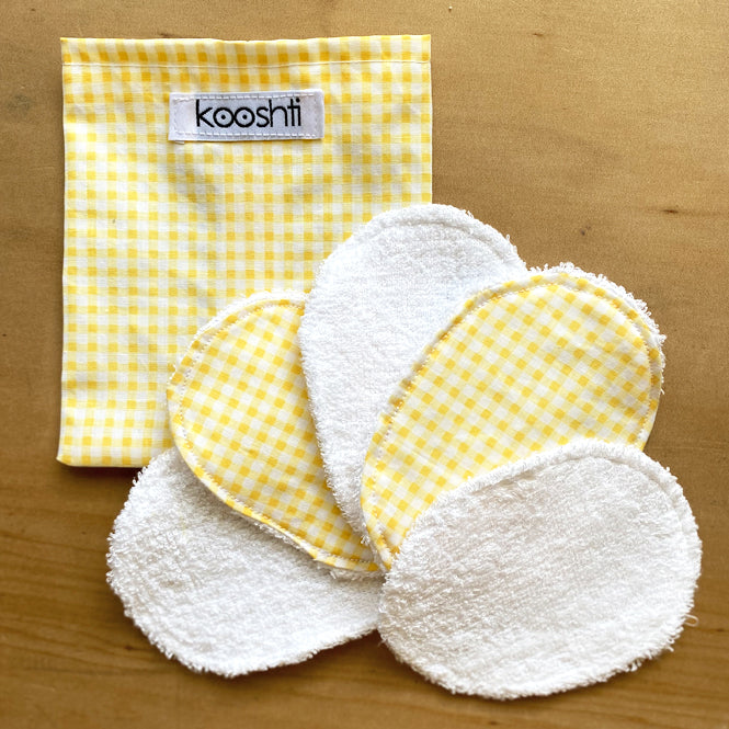 Lemon Gingham Reusable Face Wipes