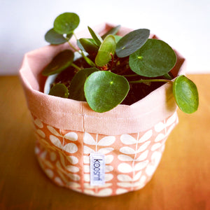 Orla Kiely Tiny Linear Stem pink Fabric Planter/Storage Basket