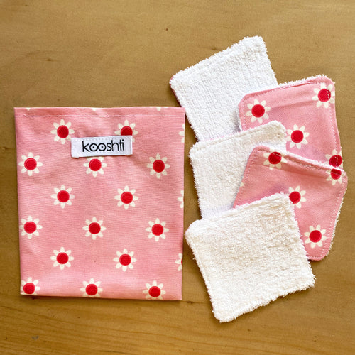 Pretty Pink Floral Reusable Face Wipes