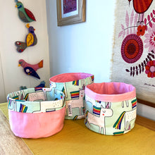 Load image into Gallery viewer, Rainbow Unicorn Fabric Planter/Storage Basket