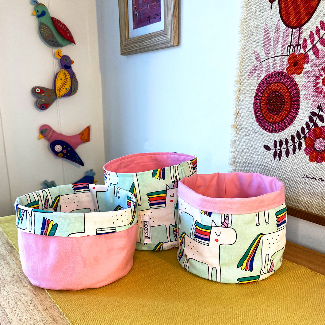Rainbow Unicorn Fabric Planter/Storage Basket