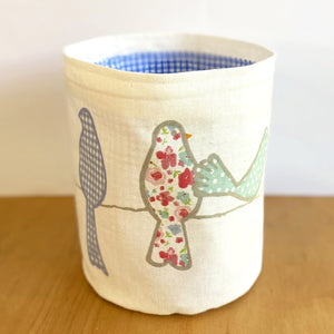 A Flutter of Friends Fabric Planter/Storage Basket