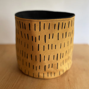 Black & Tan Fabric Planter/Storage Basket