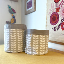 Load image into Gallery viewer, Orla Kiely Tiny Linear Stem Warm Grey Fabric Planter/Storage Basket