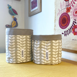 Orla Kiely Tiny Linear Stem Warm Grey Fabric Planter/Storage Basket
