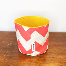Load image into Gallery viewer, Watermelon Chevron Fabric Planter/Storage Basket