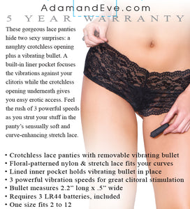 Vibrating Crotchless Panty With Bullet