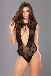 Lace G-String Teddy With Keyhole - One Size - Black
