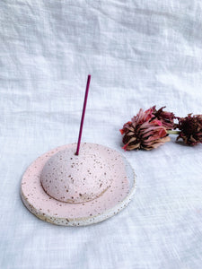Incense Holder • Pink on Dark Clay