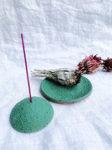 Incense Holder • Green Moss on Dark Clay