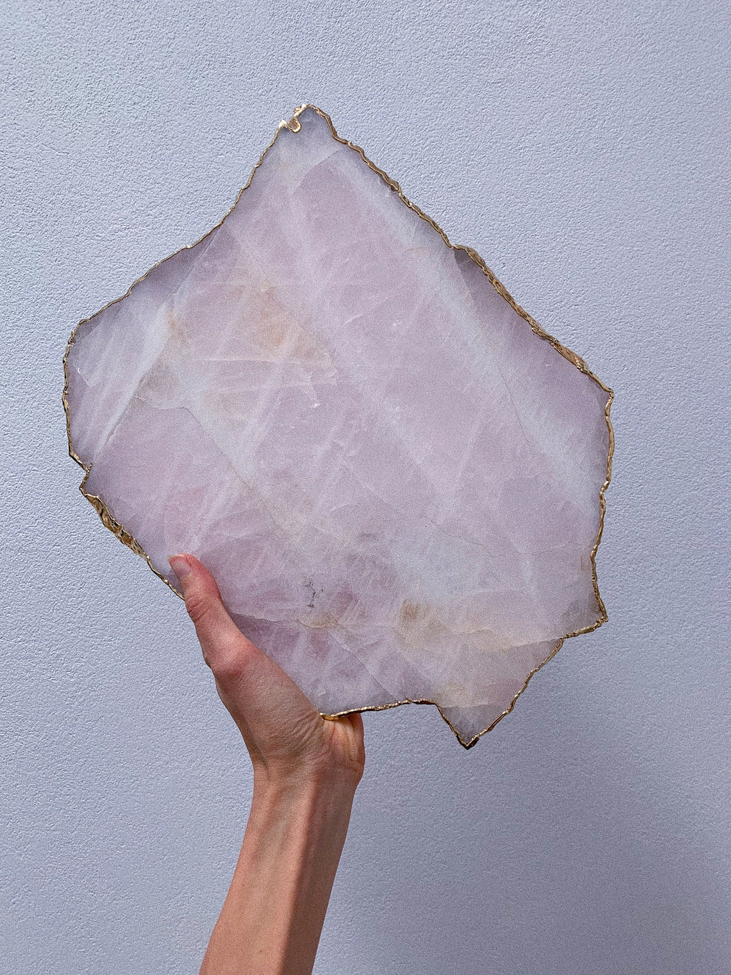 Gold Edged Rose Quartz Platter (B)