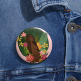 in full bloom pinback button