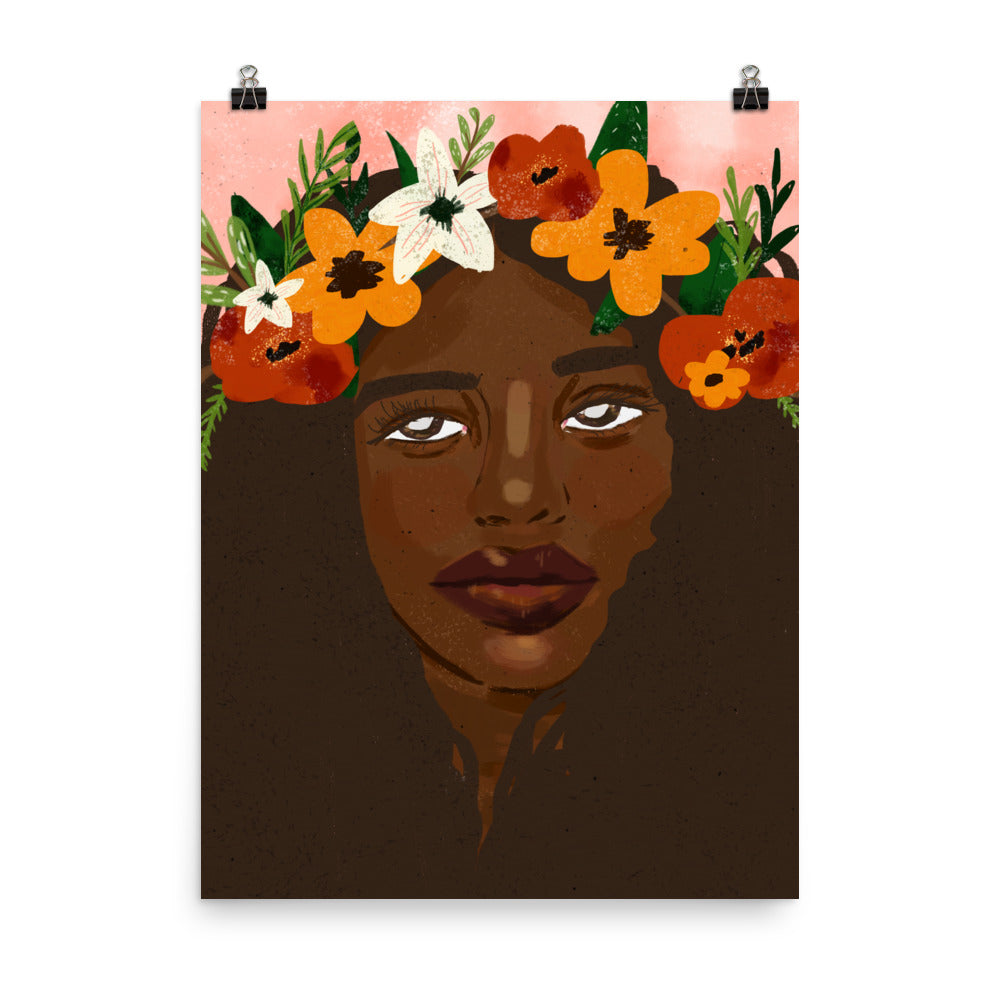 flower crowned art print