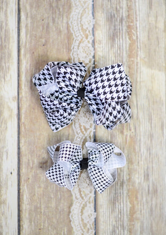 Houndstooth Double Stacked Bow