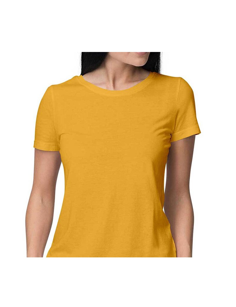 eac31dce025ee Buy Women Round Neck Half Sleeve Plain Golden Yellow Color T-shirt ...