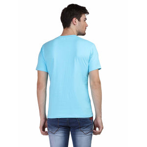 Mens Round Neck Half Sleeve Plain Sky Blue Color T-shirt - leavf