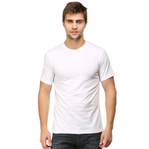 Mens Round Neck Half Sleeve Plain White T-shirt - leavf