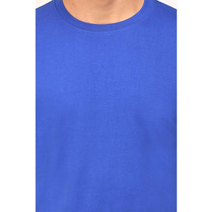 Mens Round Neck Half Sleeve Plain Royal Blue Color T-shirt - leavf