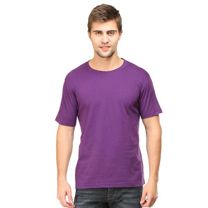 Mens Round Neck Half Sleeve Plain Purple Color T-shirt - leavf