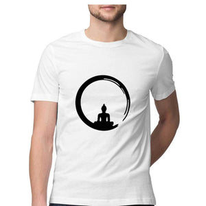 Men's Spiritual Moon Yoga Tshirts Cotton Tshirt Black Buddha Printed - leavf