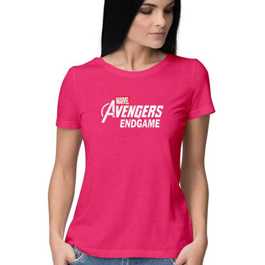 Marvel Avengers Endgame: Womens Premium half sleeve T Shirt White textured - leavf